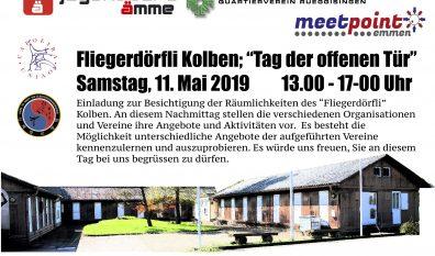 """Fliegerdörfli Kolben:        """"Tag der offenen Tür""""          Samstag 11. Mai 2019      13.00-17.00 Uhr"""